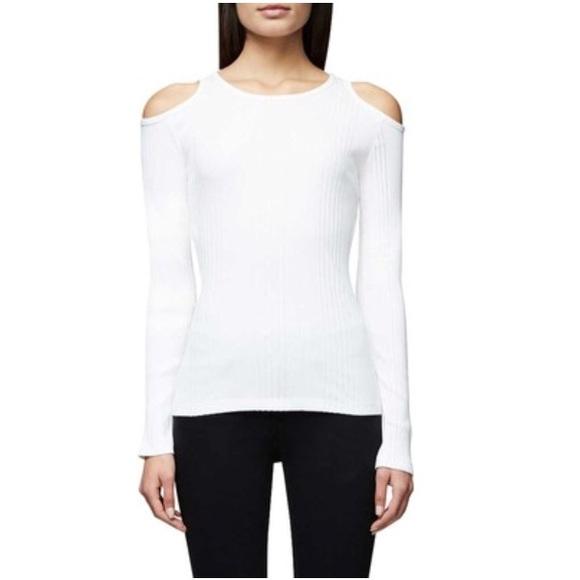 1a0f805bfeb Frame Denim Tops | Nwt Frame White Ribbed Cold Shoulder Top Size M ...
